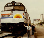 Bill McMichael and train