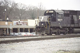 Train passing in front of The Irondale Cafe